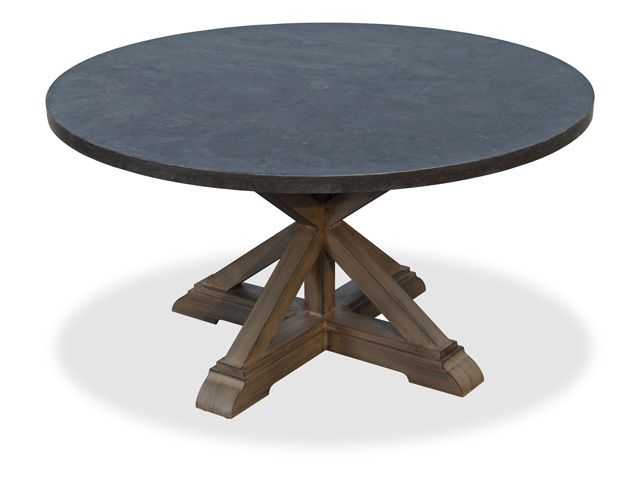 La Jolla 54 Round Aluminum Pedestal Base Table With Belgian Blue Stone Top