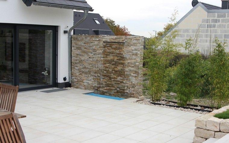 muro jardin idea caida agua preciosa moderno   Jardín   Pinterest