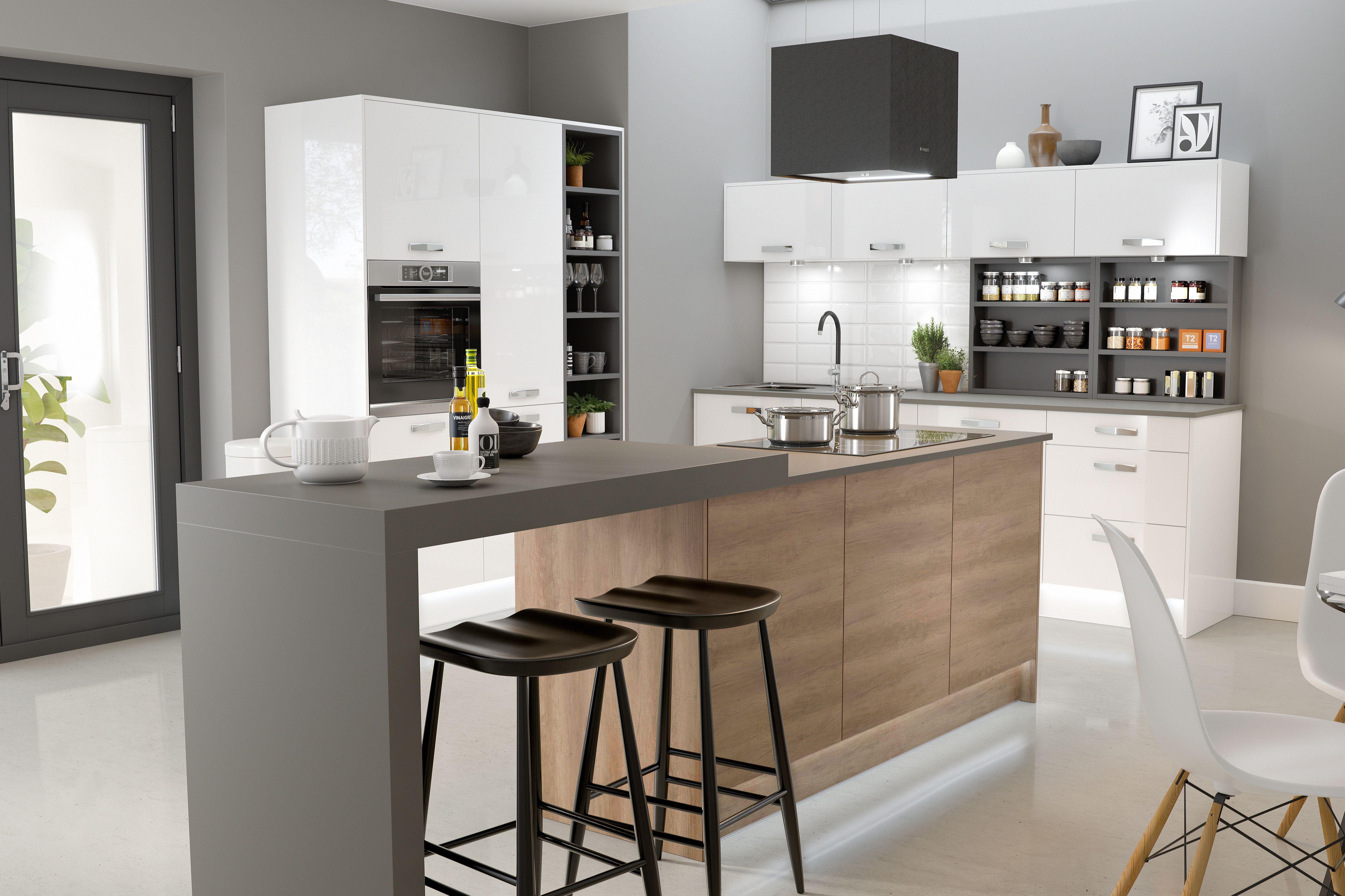Modern kitchen featuring white gloss doors, Metro Brick