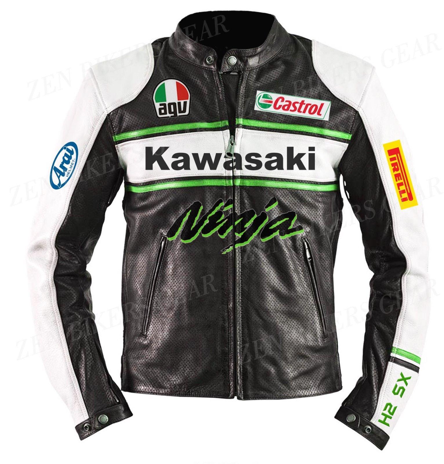Black White Green Kawasaki Ninja Castrol Motocard Racing