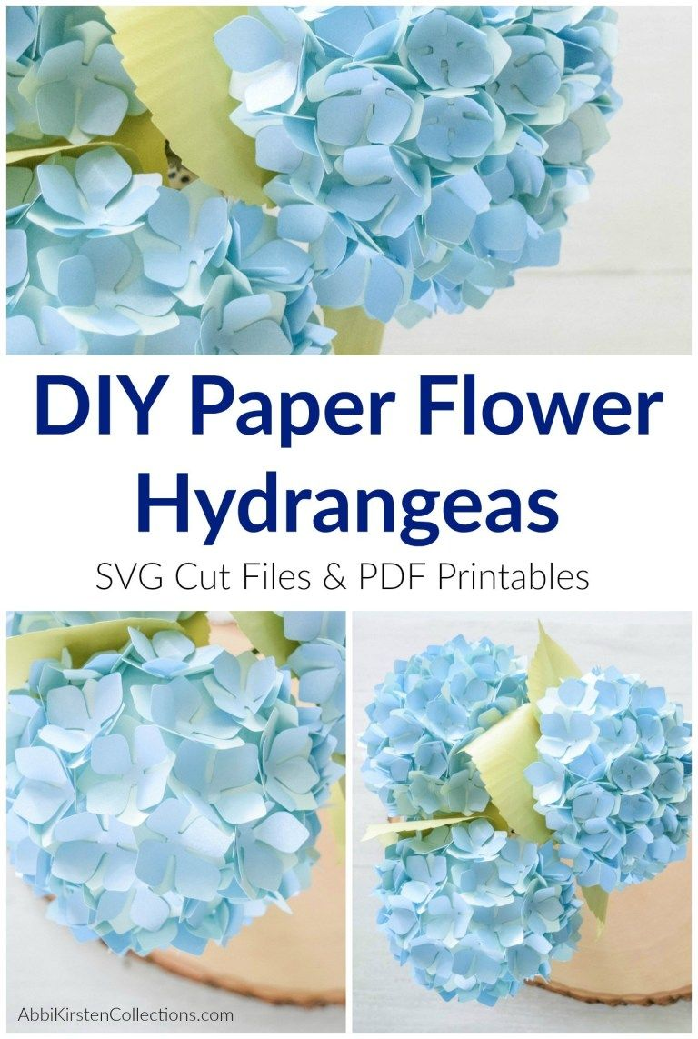 Diy Paper Hydrangea Flowers Templates And Tutorial Paper Flower Tutorial Paper Flower Wall Decor Paper Flowers