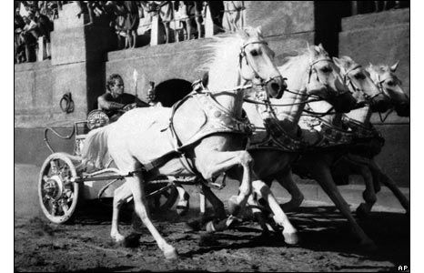 One of the most famous scenes in film history, the chariot race from Ben Hur (1959). #benhur1959