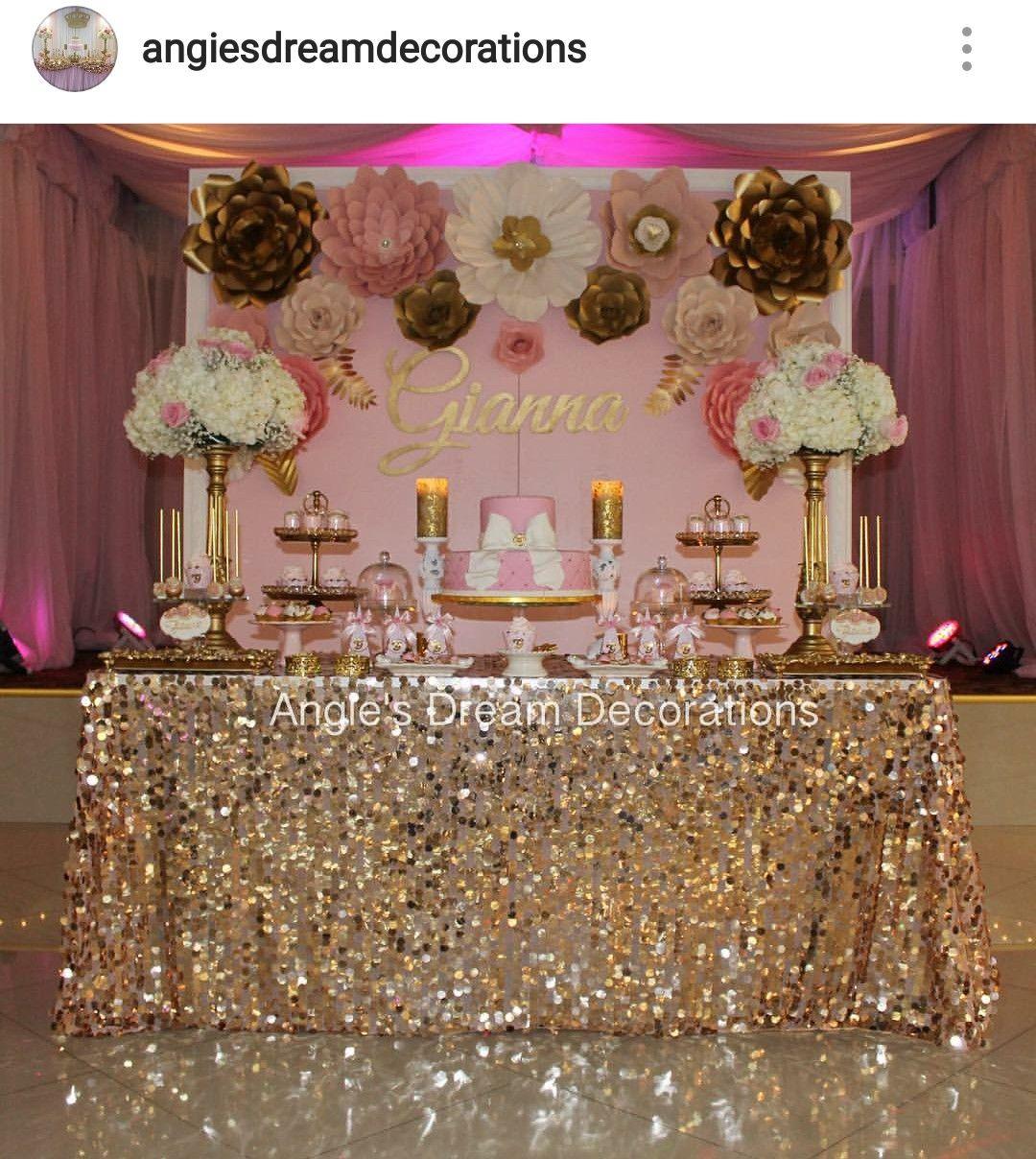 Pink, gold Nd white Baby Shower Dessert Table Decor