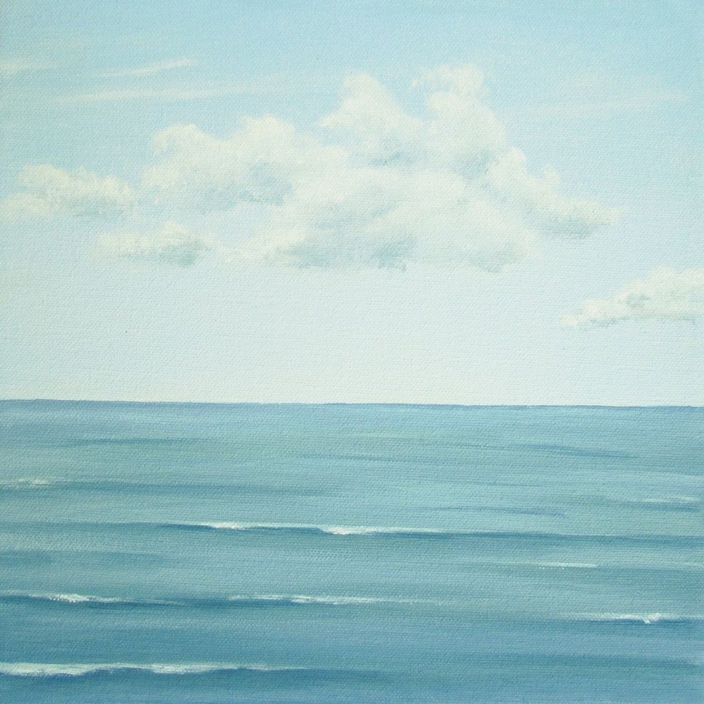 Original Seascape Painting Calm Sea Ocean Painting Blue Sky