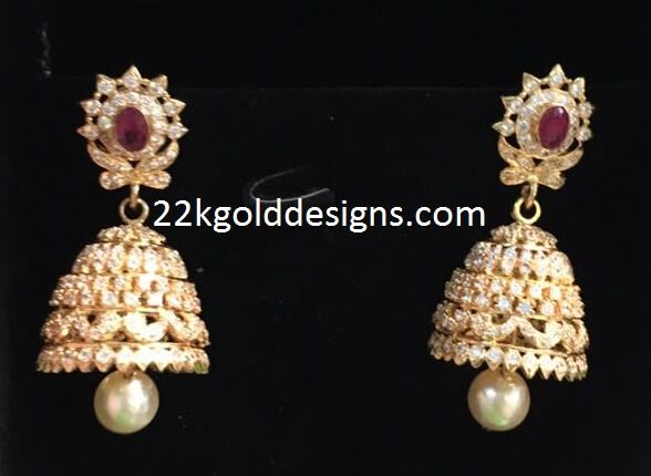 6522bd843ba06f Indian Jewellery Designs: White Stone Jhumkas | addicted to jewelry ...