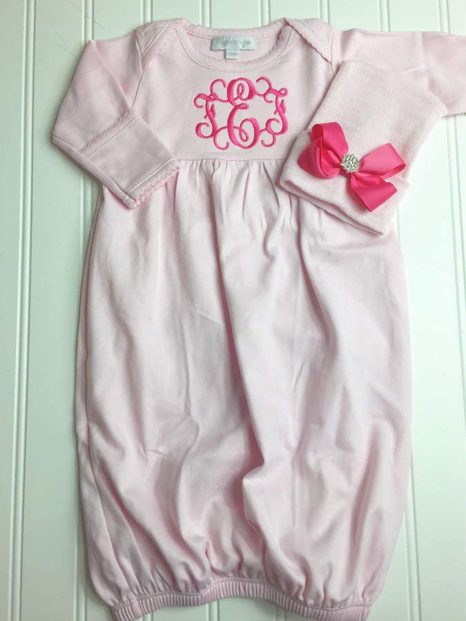 Etsy baby girl coming home outfit monogrammed gown personalized etsy baby girl coming home outfit monogrammed gown personalized baby gift monogrammed sleeper negle Images