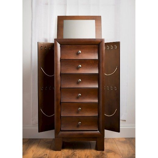 Ashton Jewelry Armoire Walnut Hives Honey Brown Armoires