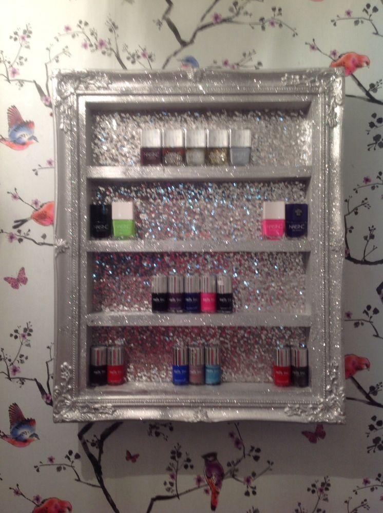 wall mounted nail polish Racks/storage Salon Shelf WITH REAL SEQUIN ...