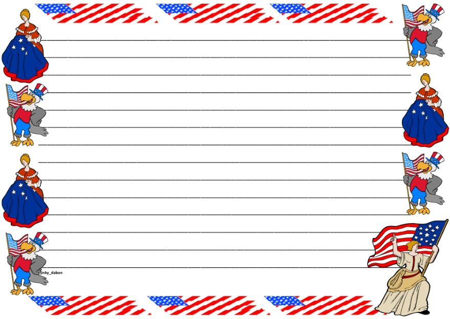 A set of flag day themed lined paper and page borders for your - lined page