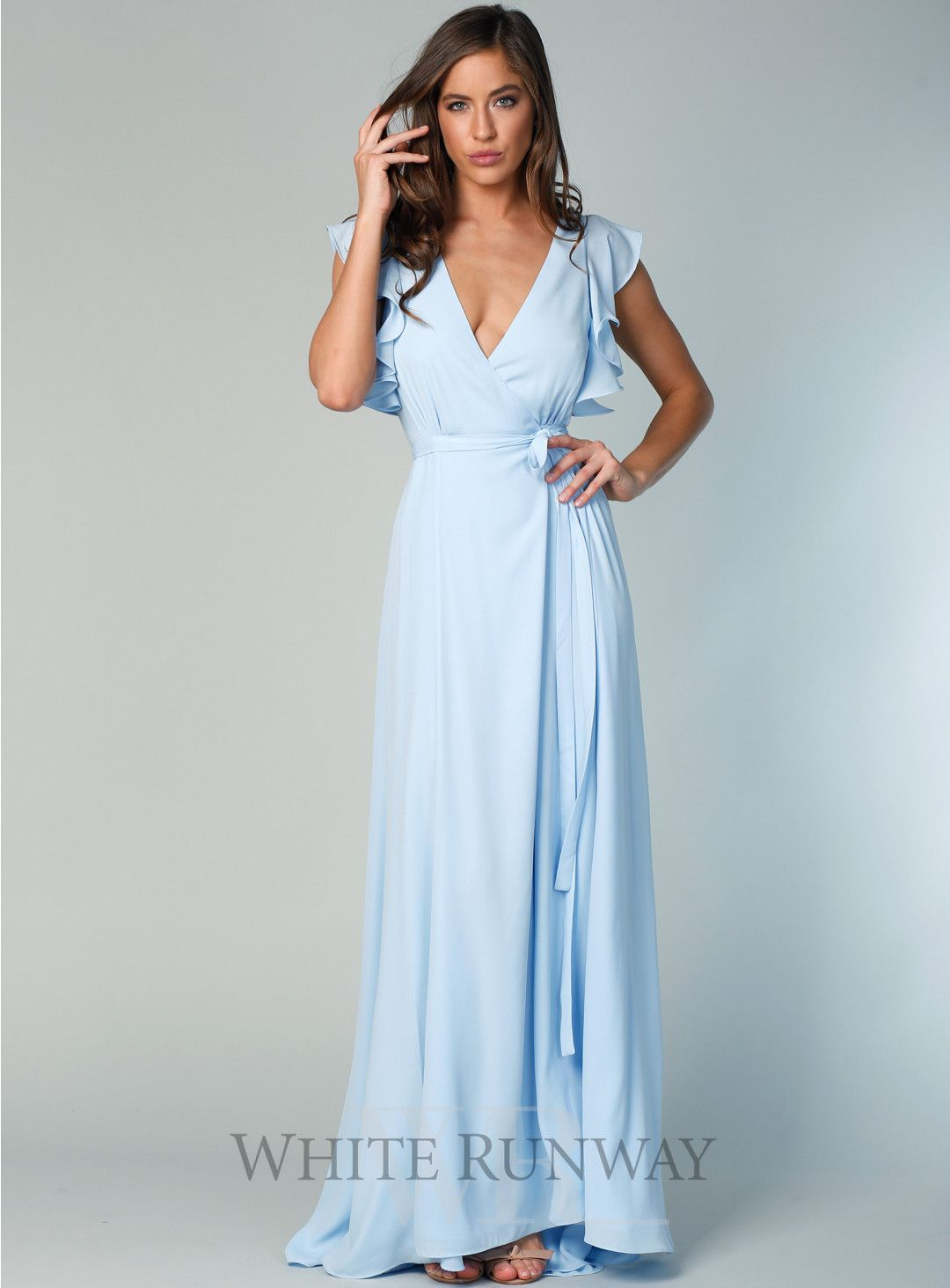1504146e37 ... half off bf67b 67aa7 Flutter Sleeve Gown with Train. A beautiful full  length wrap dress ...