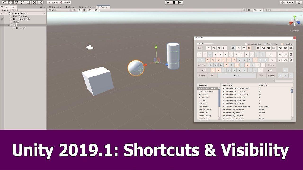Unity 2019 1 Beta Tutorial Shortcuts Scene Visibility Unity