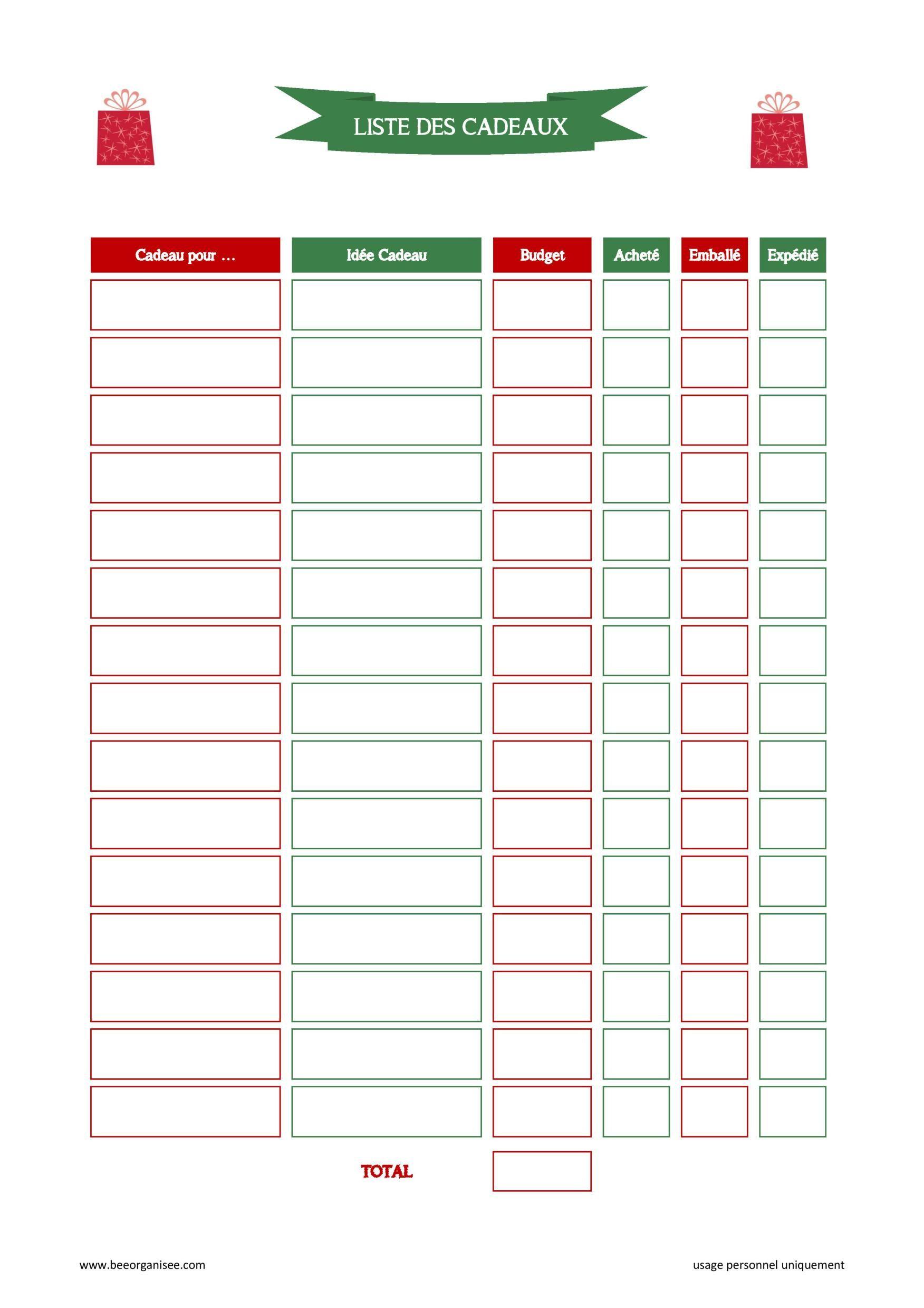 Trame gratuite à imprimer : la liste des cadeaux à faire pour Noël