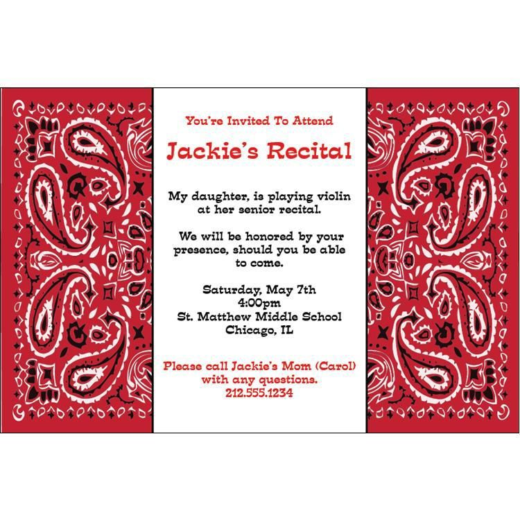 Red Bandana Personalized Invitations | Windy City Novelties | Party ...