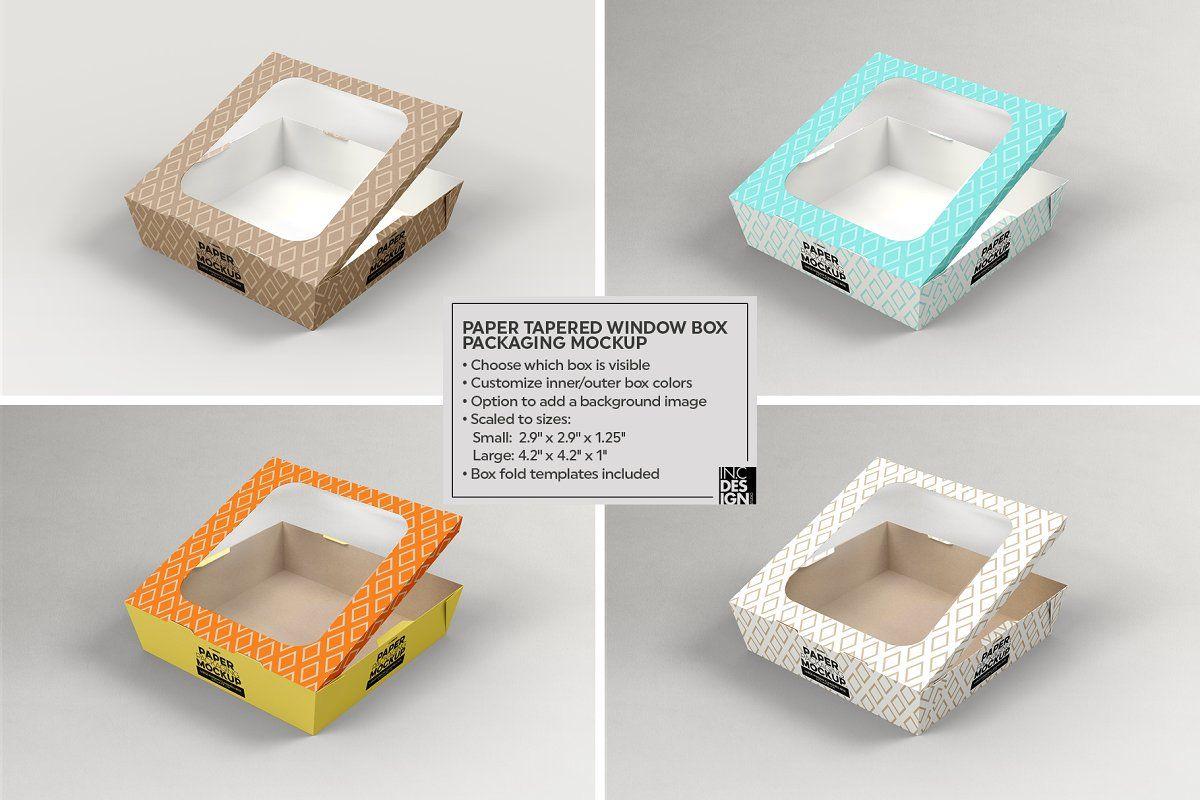 Download Paper Tapered Window Boxes Mockup Box Mockup Free Packaging Mockup Brochure Design Template