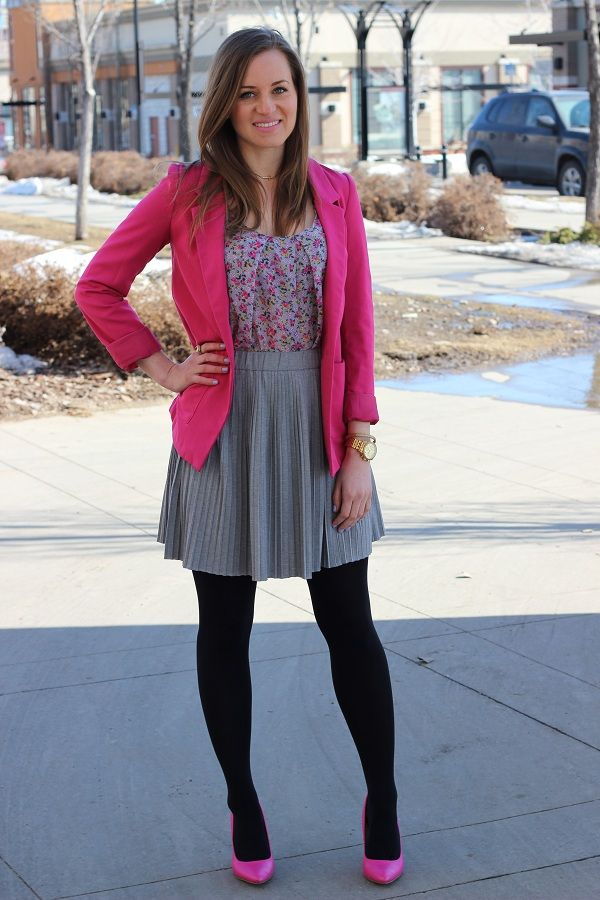 a18ce6b52f Pink blazer + dress + black tights and pink heels. Love | Desired ...
