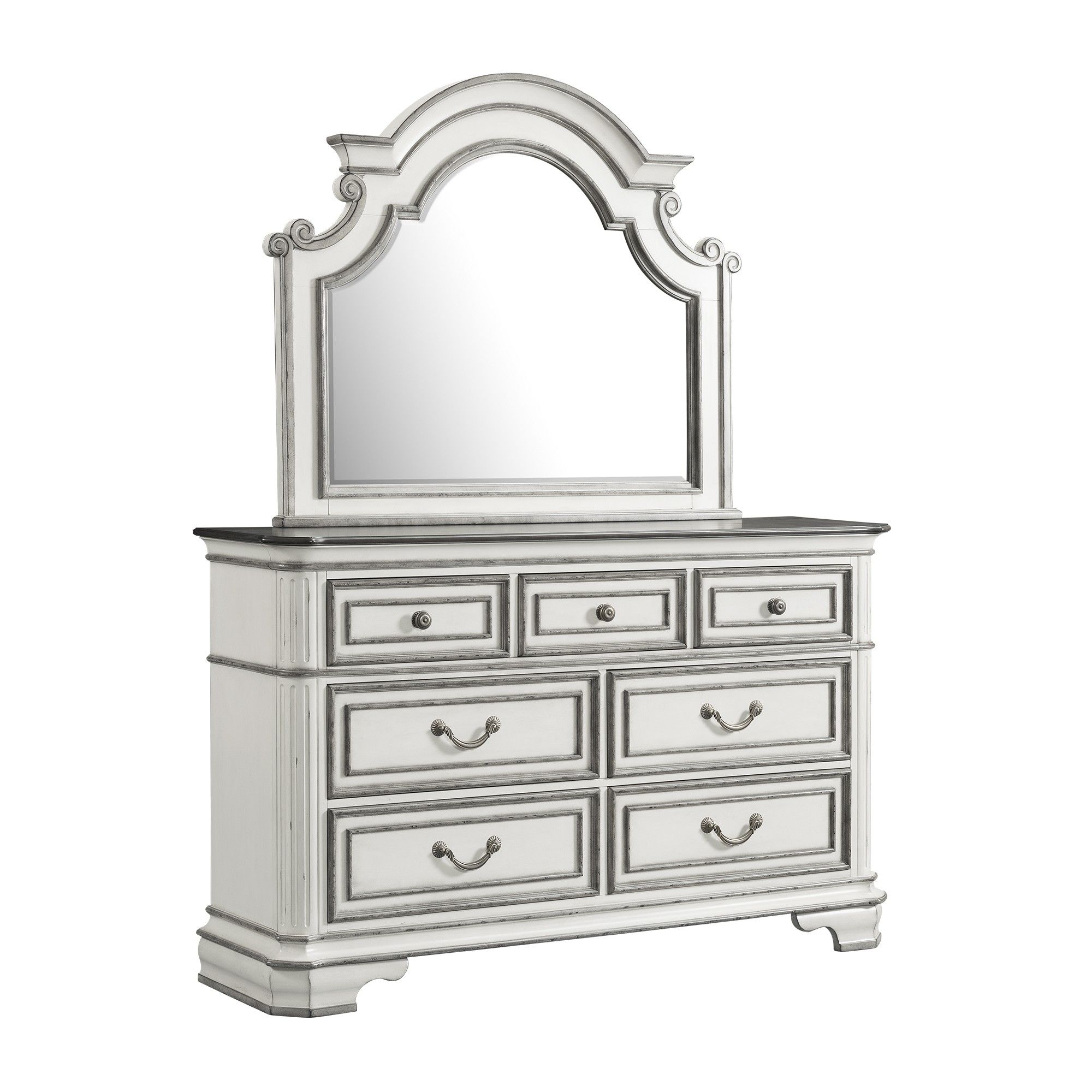 Caroline 7 Drawer Dresser with Mirror Set White Picket