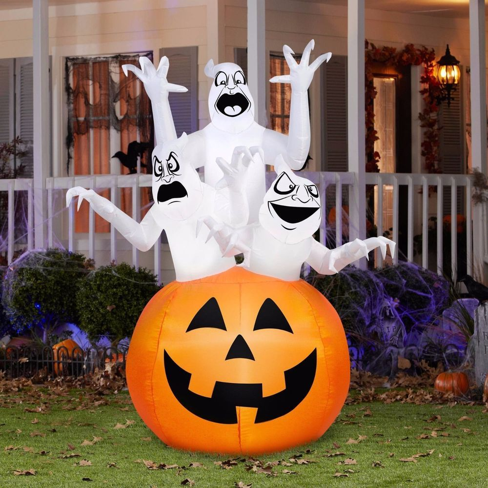ghost pumpkin inflatable halloween outdoor spooky lights up yard 6