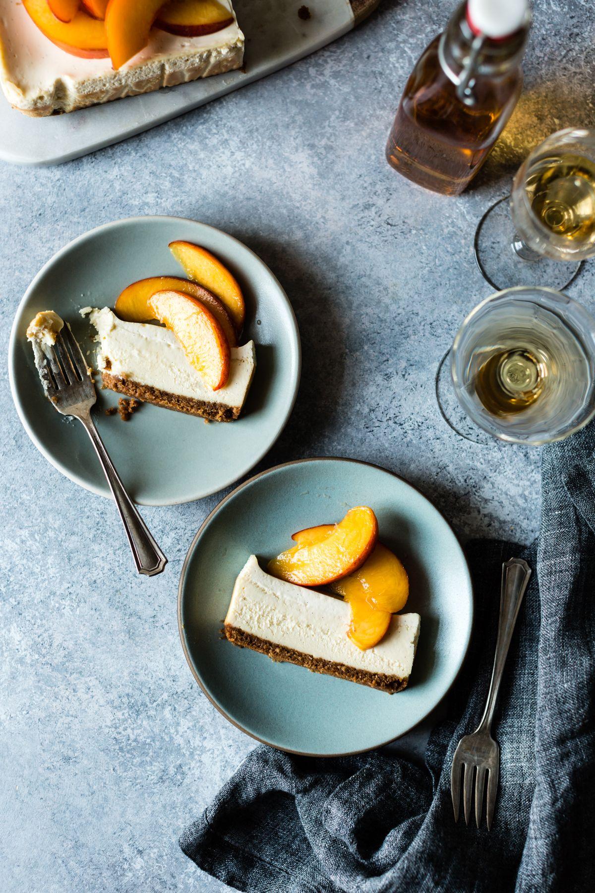 This Gluten Free Small Batch Cheesecake With Elderflower Peaches