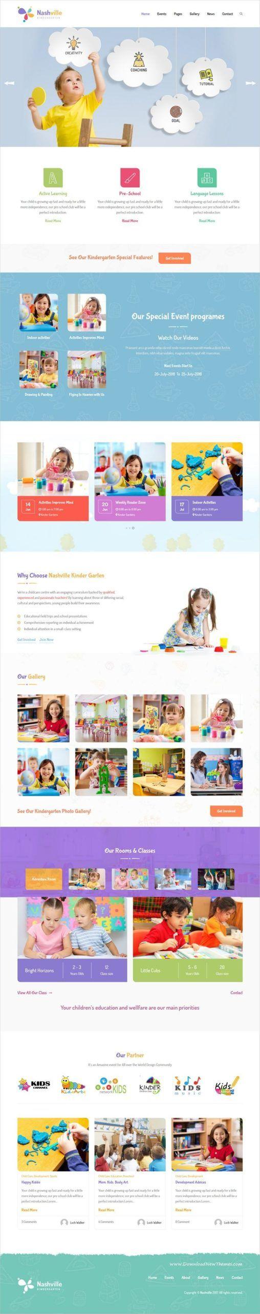 Nashville Ist Ein Farbenfrohes Und Ansprechendes Wordpress Theme Fur Kindergarten Und P In 2020 Wordpress Theme Nashville Web Design