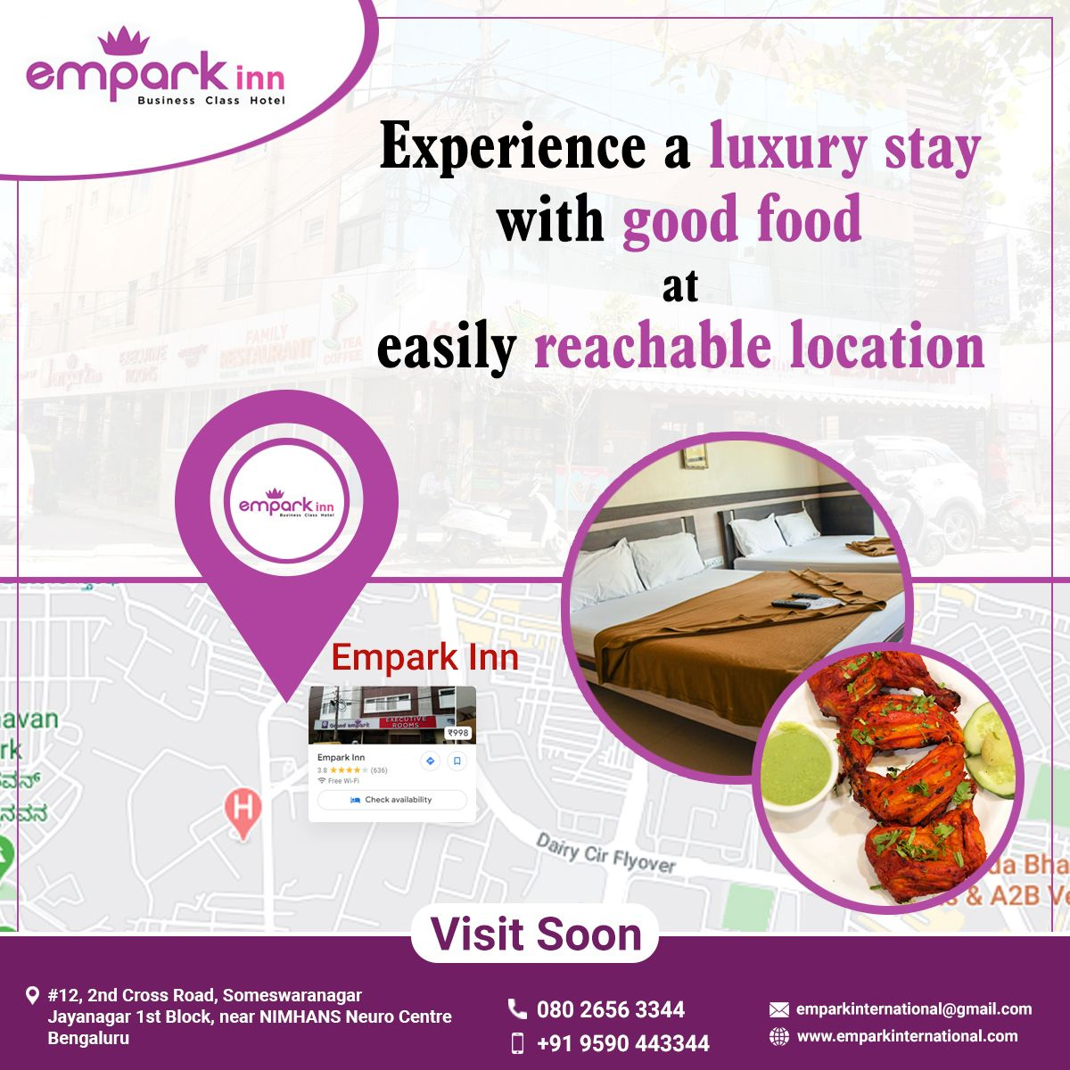 The Luxurious Empark Inn Is Situated Near The Most Easily Reachable Location Nimhans Hospital In Bangalore Book Your Roo In 2020 Food Quality Family Restaurants Food