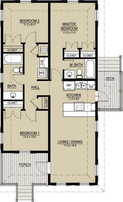 planos de casas 1 piso 2 dormitorios