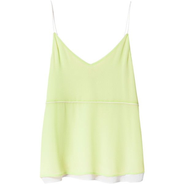 Zara Two-Tone Camisole Top (€14) ❤ liked on Polyvore featuring tops, shirts, tank tops, tanks, lime green, cami tank tops, lining shirts, green tank top, lime green camisole and green cami