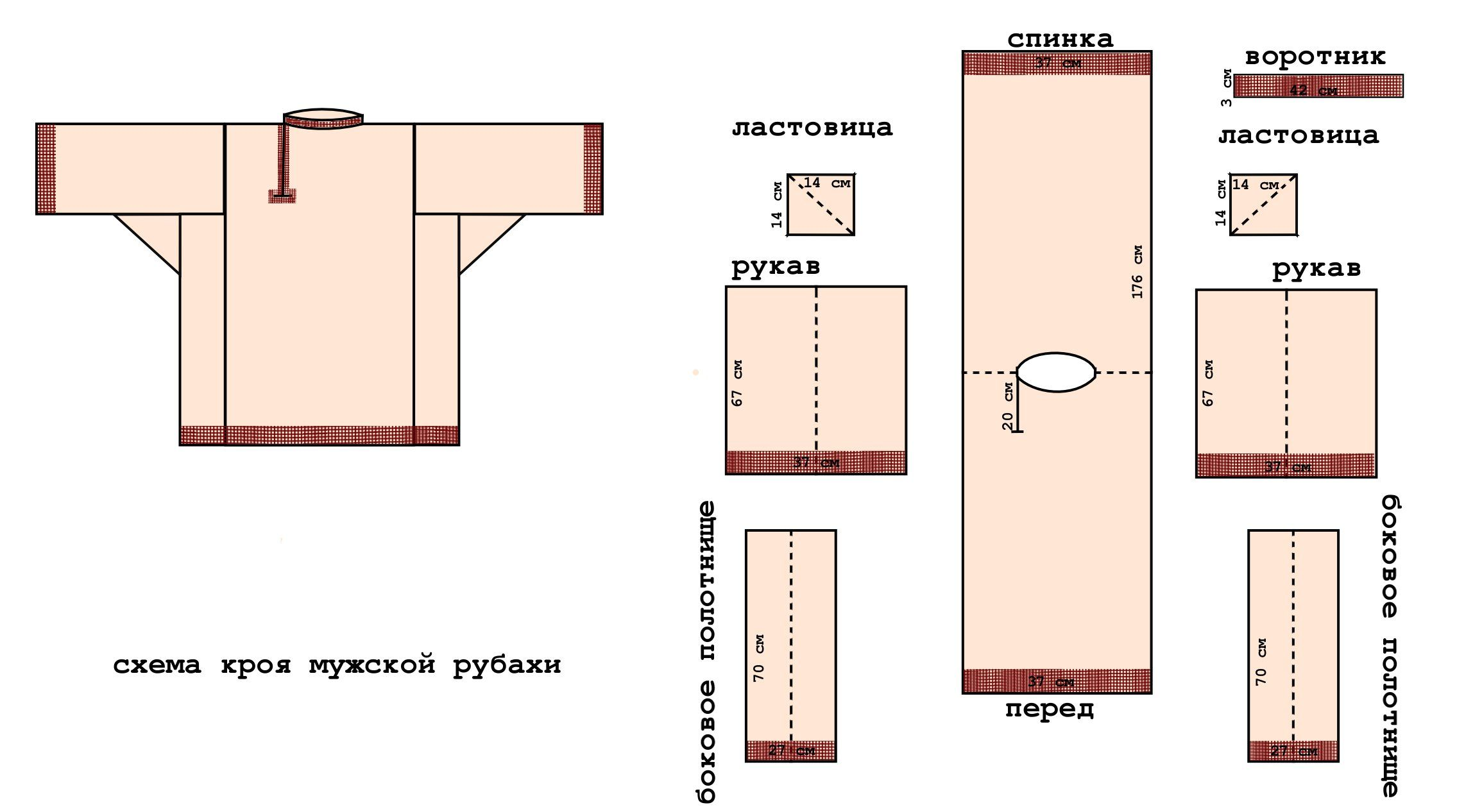 схема выкройки вышиванки