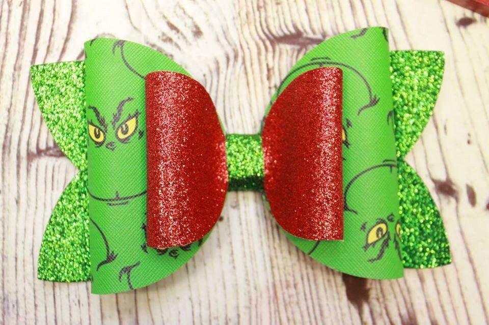 Grinch Toddler Hair Bow Set
