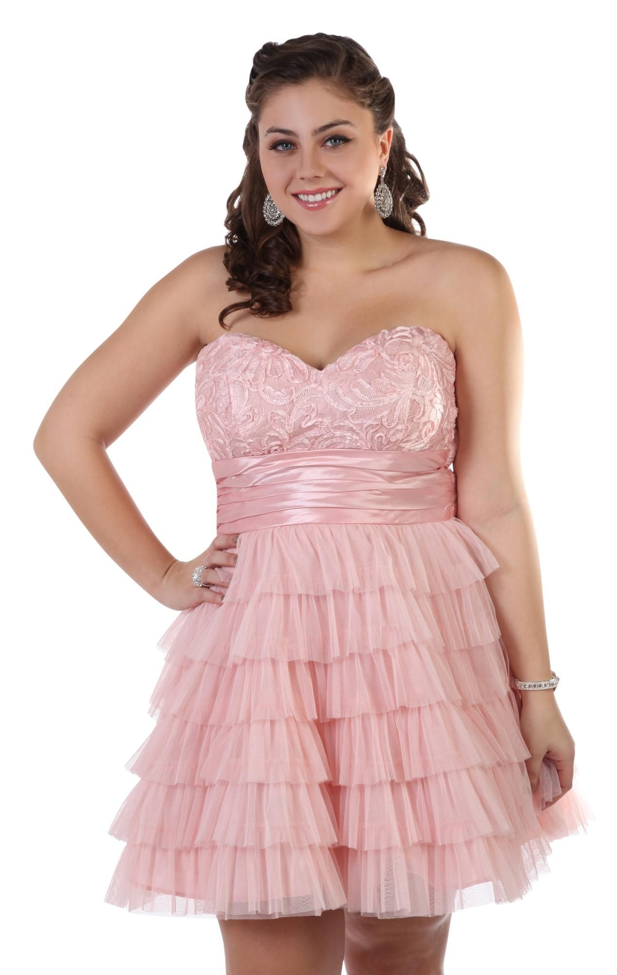 Deb shops plus size floral lace short prom dress with tiered