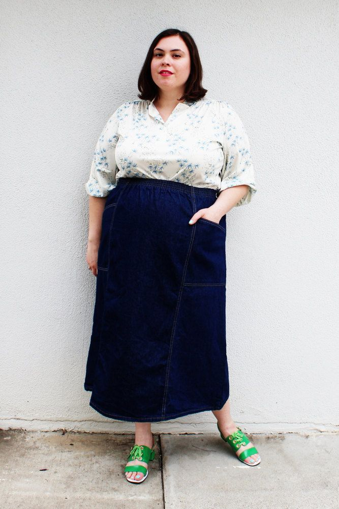 Plus Size - Vintage Denim A-Line Midi Skirt (Size 18/20) | Vintage ...