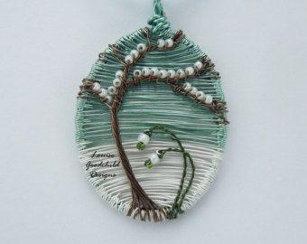 Woodland leaf pendant oak leaf pendant wire by LouiseGoodchild