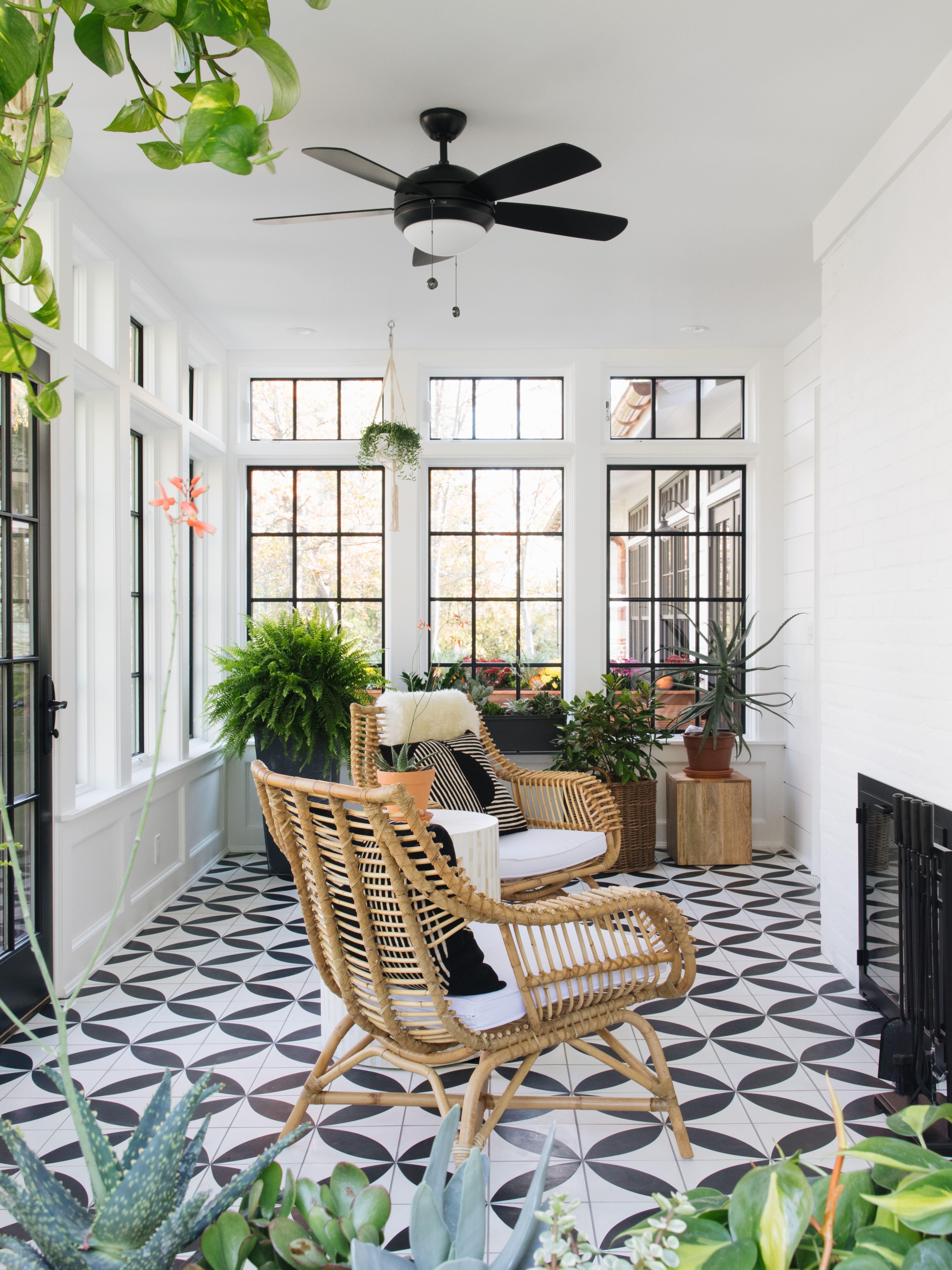 Cement Big Dane White Black Square 8 X8 X5 8 Sunroom Decorating Sunroom Designs Patio Flooring