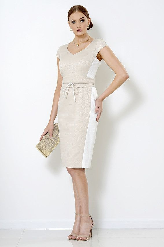 Gina Dress in bone and cream cotton poly blend suitable for  mother of the bride, summer racing fashion, Melbourne Cup, corporate events,  Pia du Pradal Park Road and Brisbane Arcade, Brisbane City or online.