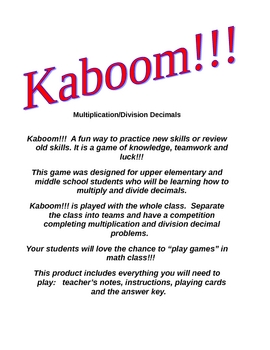 Kaboom Multiply And Divide Decimal Game Decimals