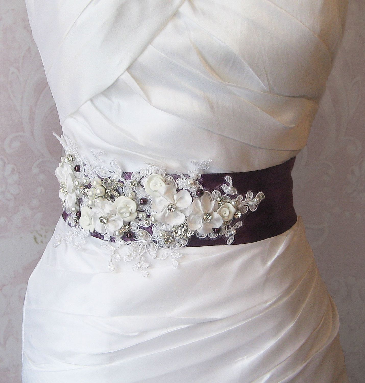 Flower Belts For Wedding Dresses: Eggplant Purple Sash, Deep Plum And White Bridal Sash