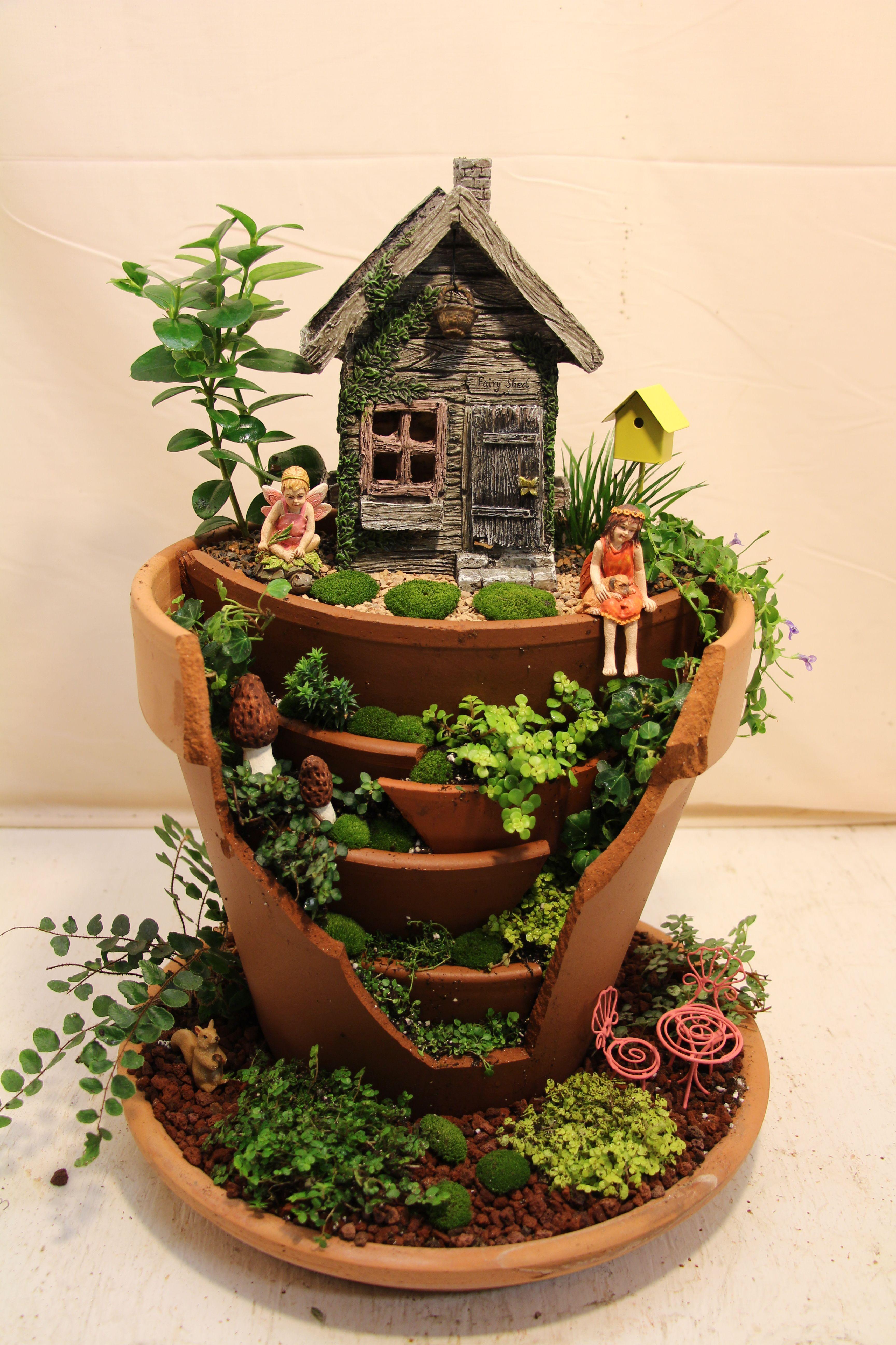 Broken Terracotta Miniature Fairy Garden. Broken pot.