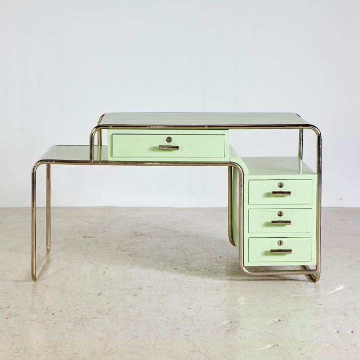 Ensemble De Meubles Style Bauhaus Vert De Ideal Tubular Furniture Factory 1930s En 2020 Mobilier De Salon Mobilier Minimaliste Des Meubles Colores