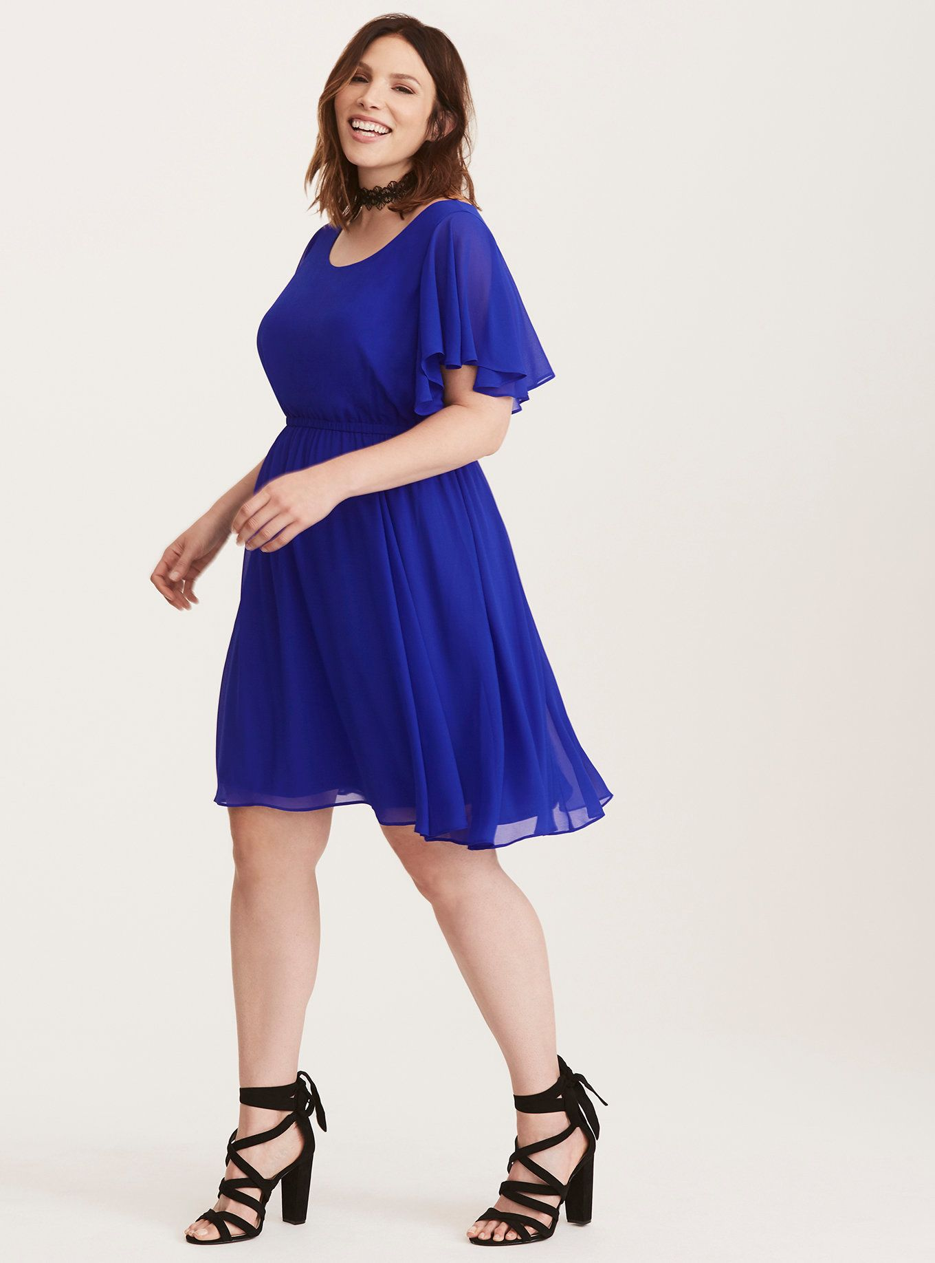 Cobalt Blue Chiffon Skater Dress | Pretty Pretty | Dresses ...