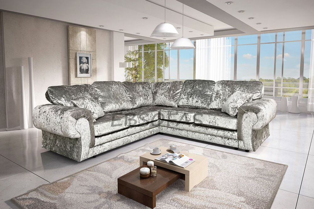 Brand New Large Tango Corner Sofa In Silver Crushed Velvet Velvet Sofa Living Room Crushed Velvet Sofa Living Rooms Living Room Decor Cozy