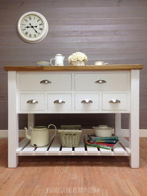 New Solid Oak Pine Kitchen Island Unit Shabby Chic Painted Furniture Farrow B