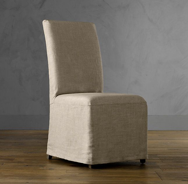 Hudson Parson Slipcovered Side Chair. Sand Linen. RH.
