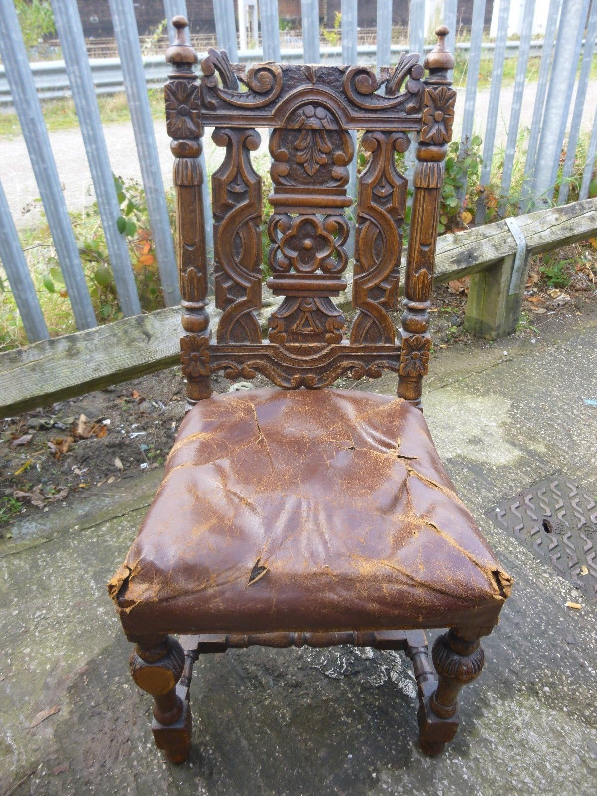 Antique Victorian Gothic Jacobean Solid Oak Carved Design Wooden Chair |  eBay - Antique Victorian Gothic Jacobean Solid Oak Carved Design Wooden