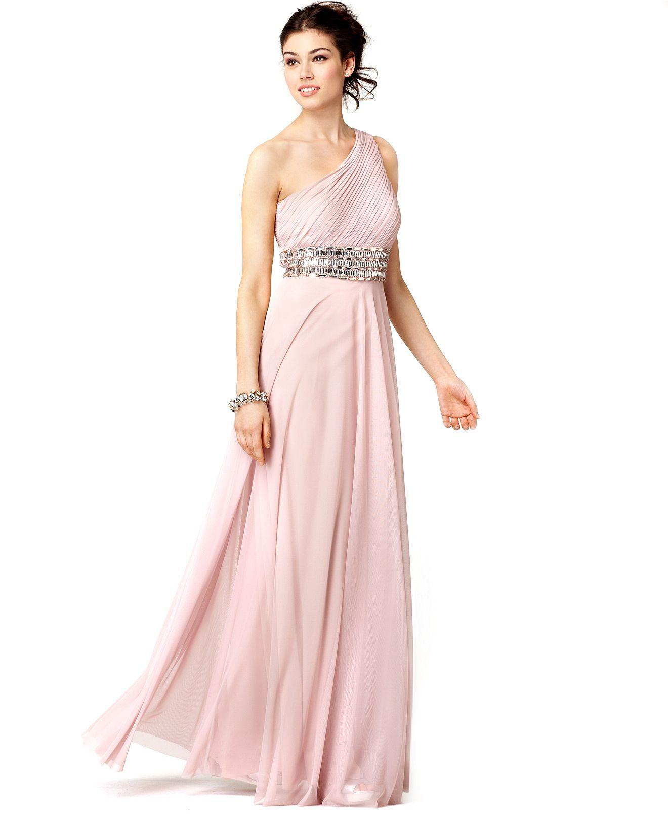 Js Collections Dress Sleeveless One Shoulder Beaded Empire Waist