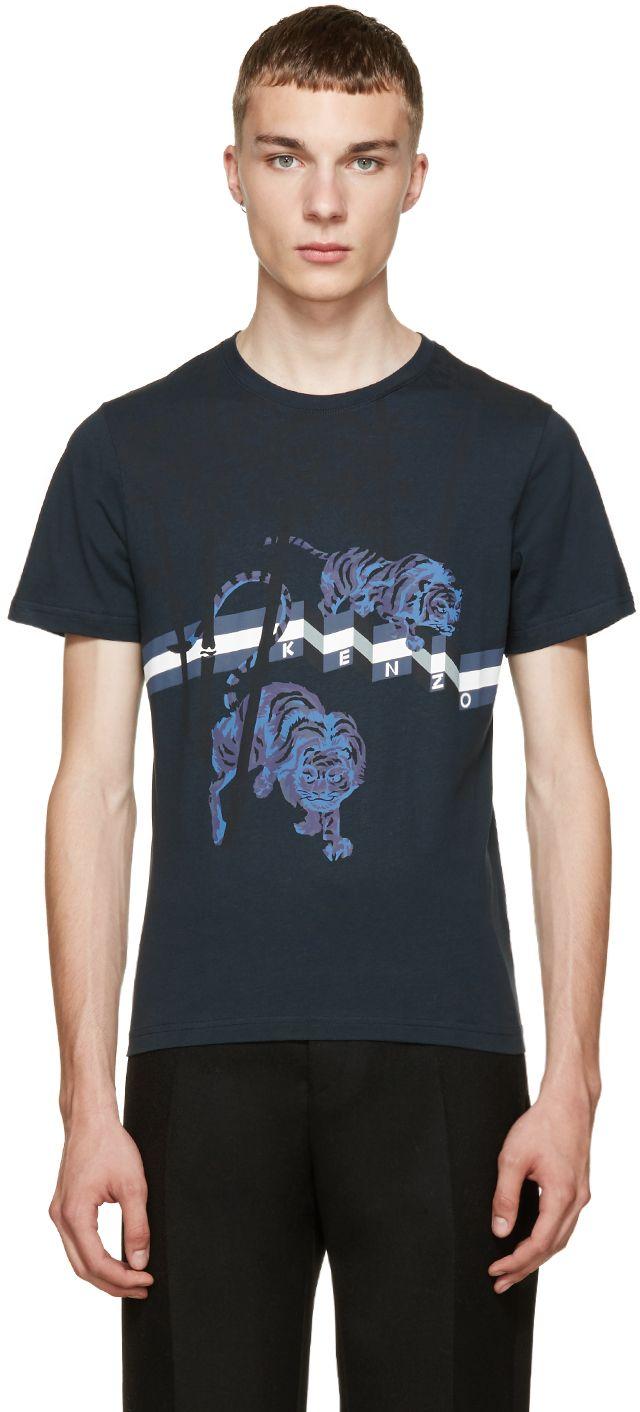 21c454de Kenzo: Teal Bamboo TIger Print T-Shirt | SSENSE | Tee shirt | Tiger ...
