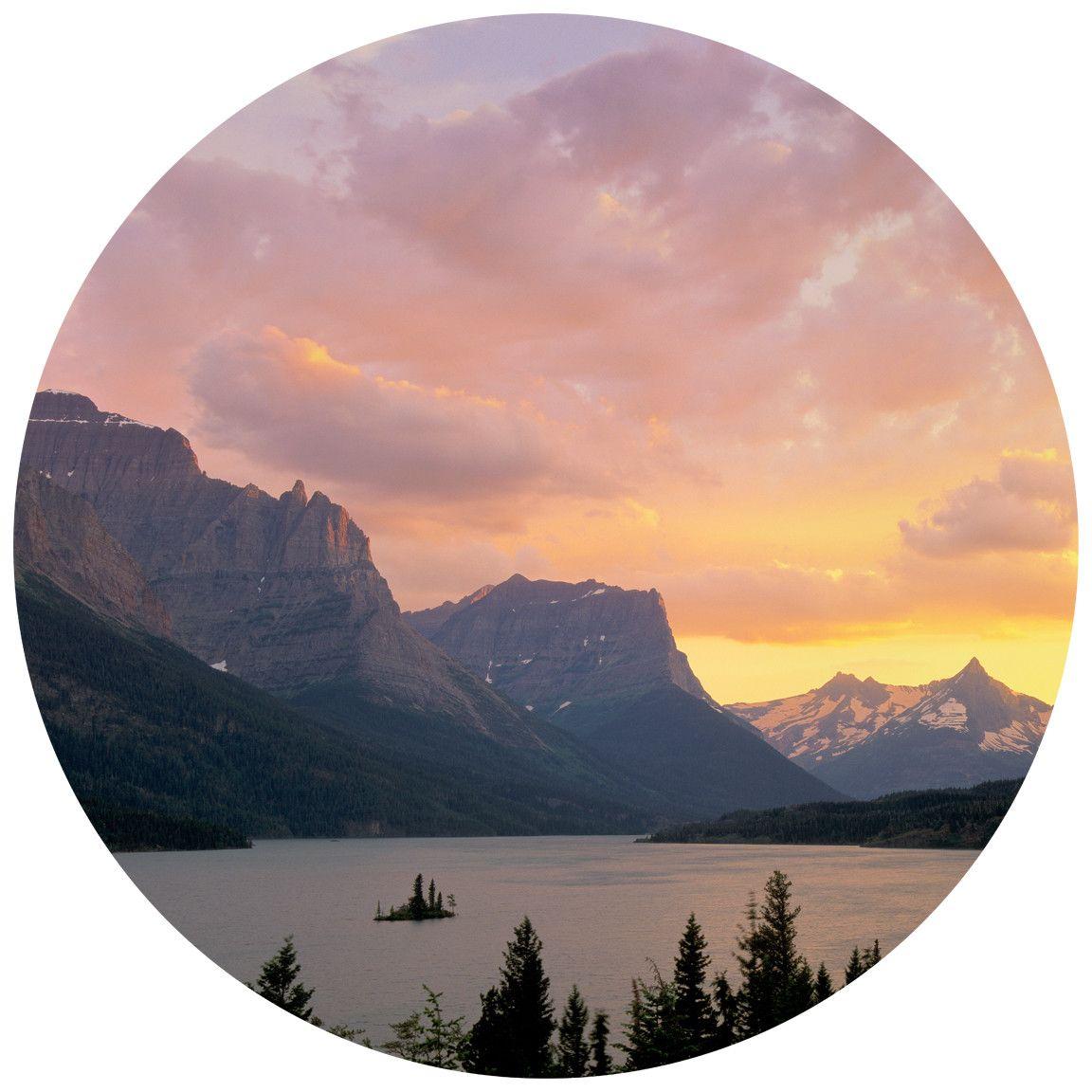 Paul Moore S St Mary S Lake Glacier National Park Circle Wall Decal Glacier National Park National Parks Landscape