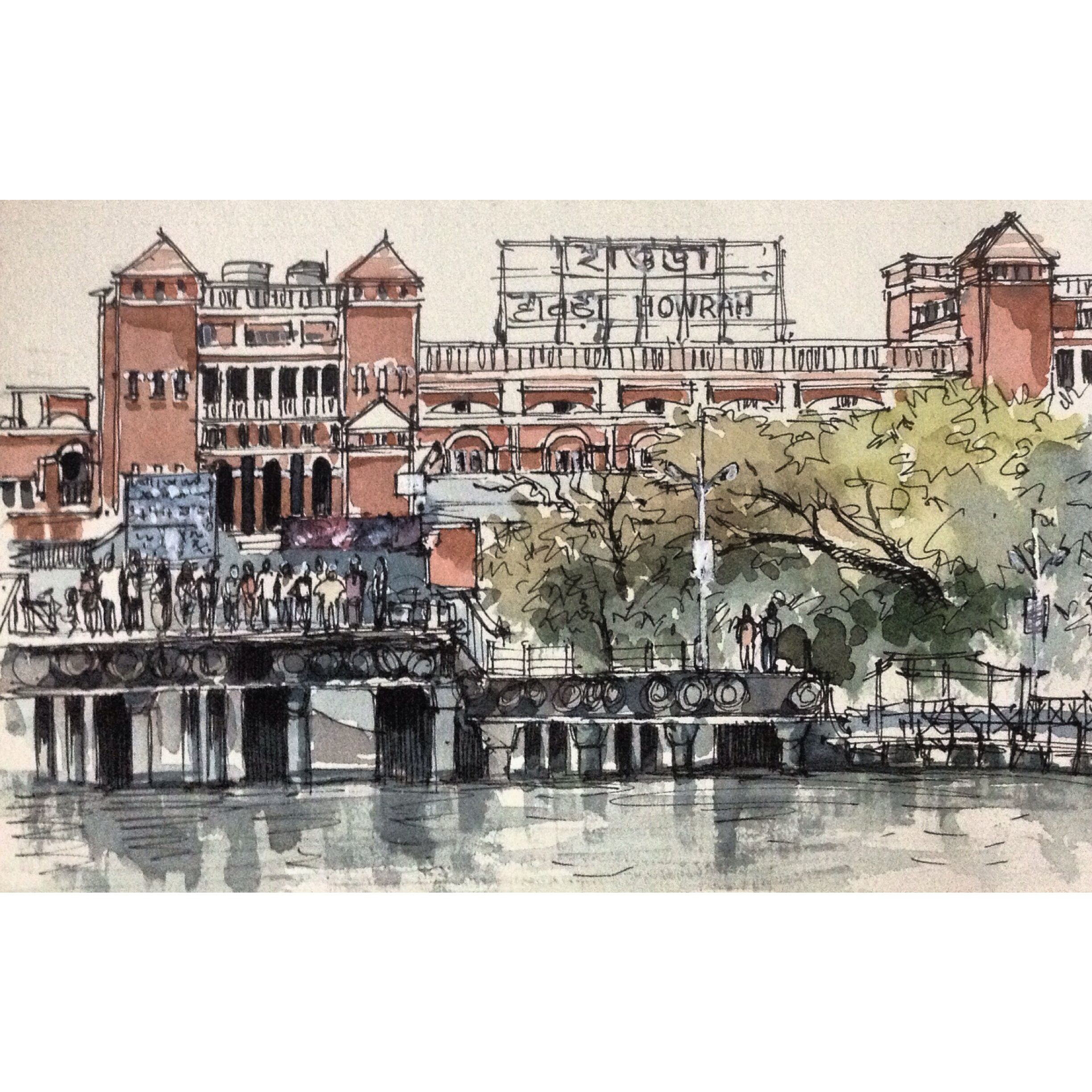 Jetty opposite howrah station calcutta ink and wash sketch by sushanto