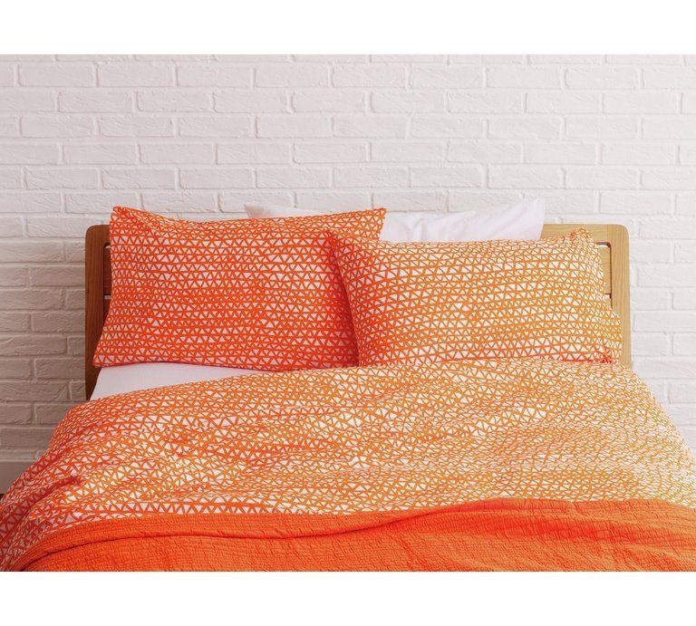 Habitat Noah Orange Duvet Cover Set Double At Argos Co Uk