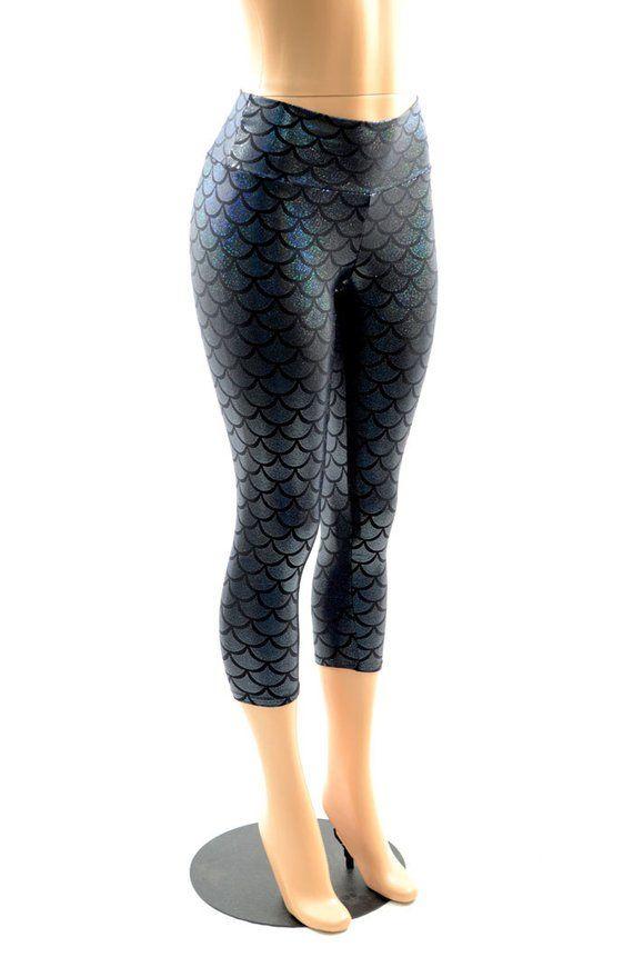 e5f4a44406781d Black Mermaid Scale Dragon Holographic Shiny Shimmery Capri Leggings -E7971