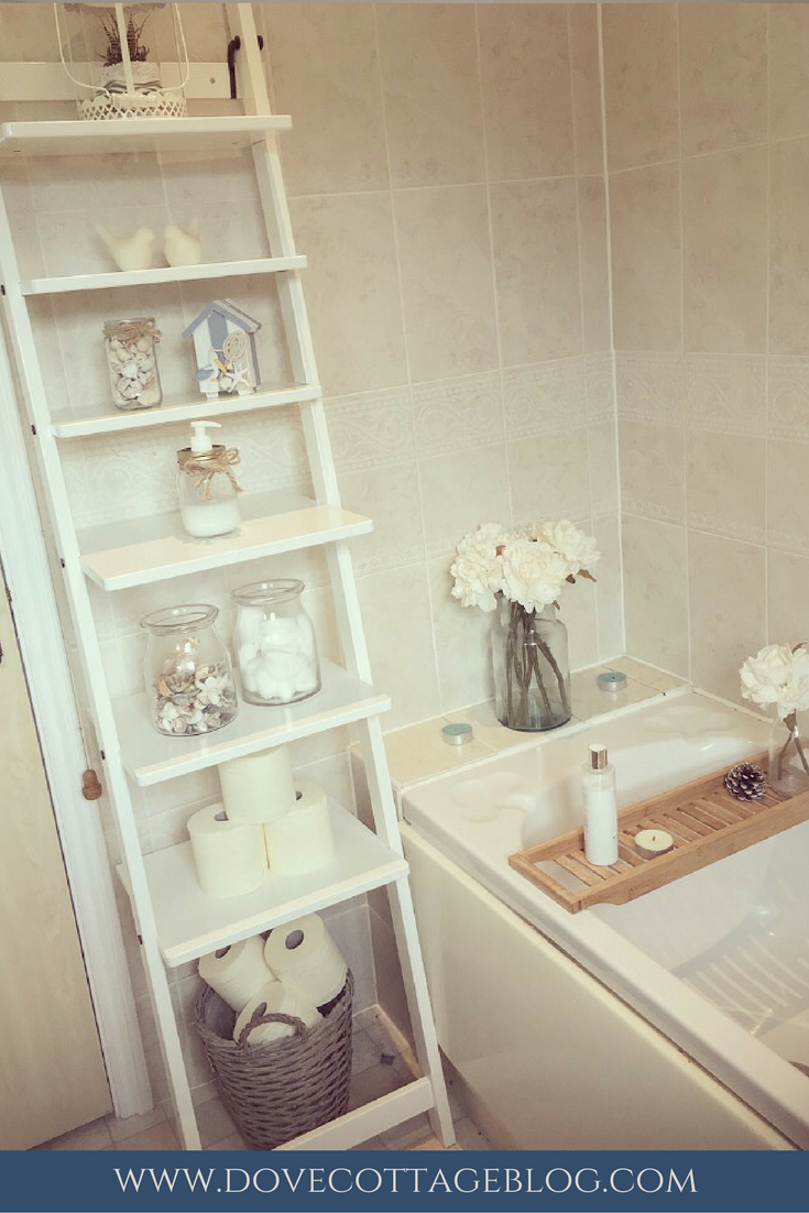 Vintage Style Bathroom In Neutral Colours With Hints Of Nautical Themed Accessories Ladder