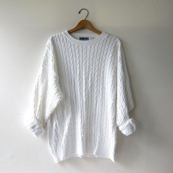 vintage natural white sweater. oversized pullover. cable knit ...